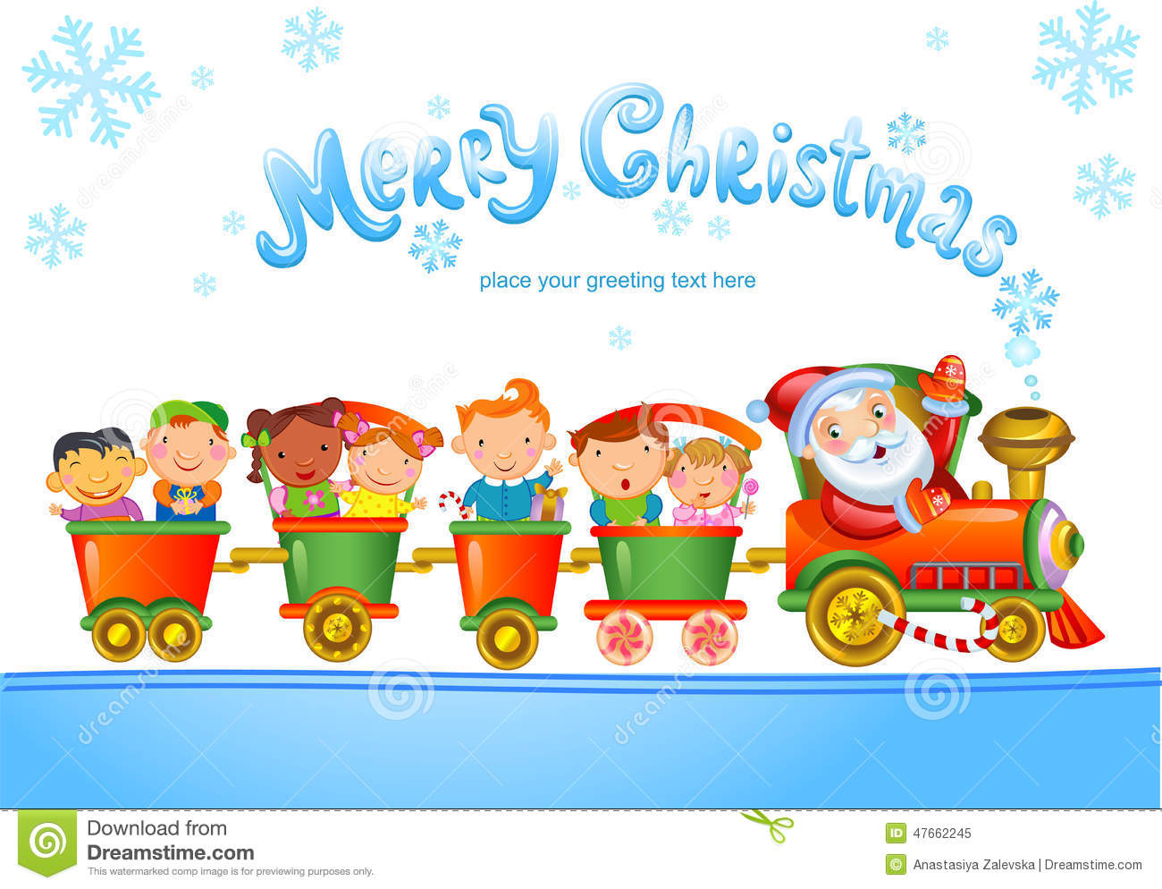 Toy Train With Santa Claus And Kids. Stock Vector - Illustration of ...