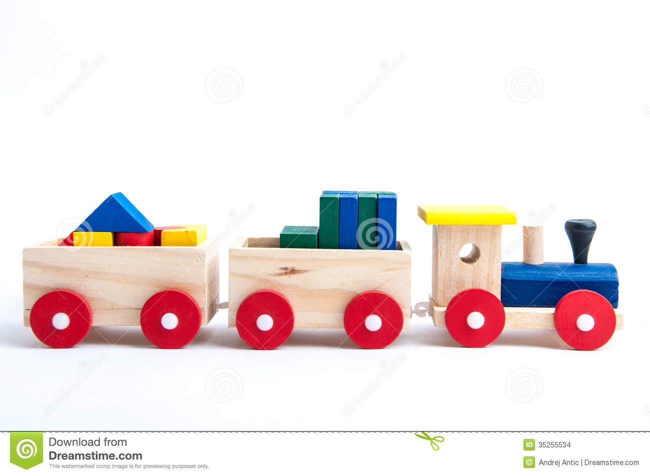 Wooden toy train on white background.