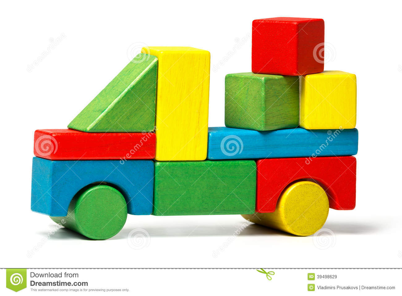 Toy truck, multicolor car wooden blocks transportation, cargo delivery ...