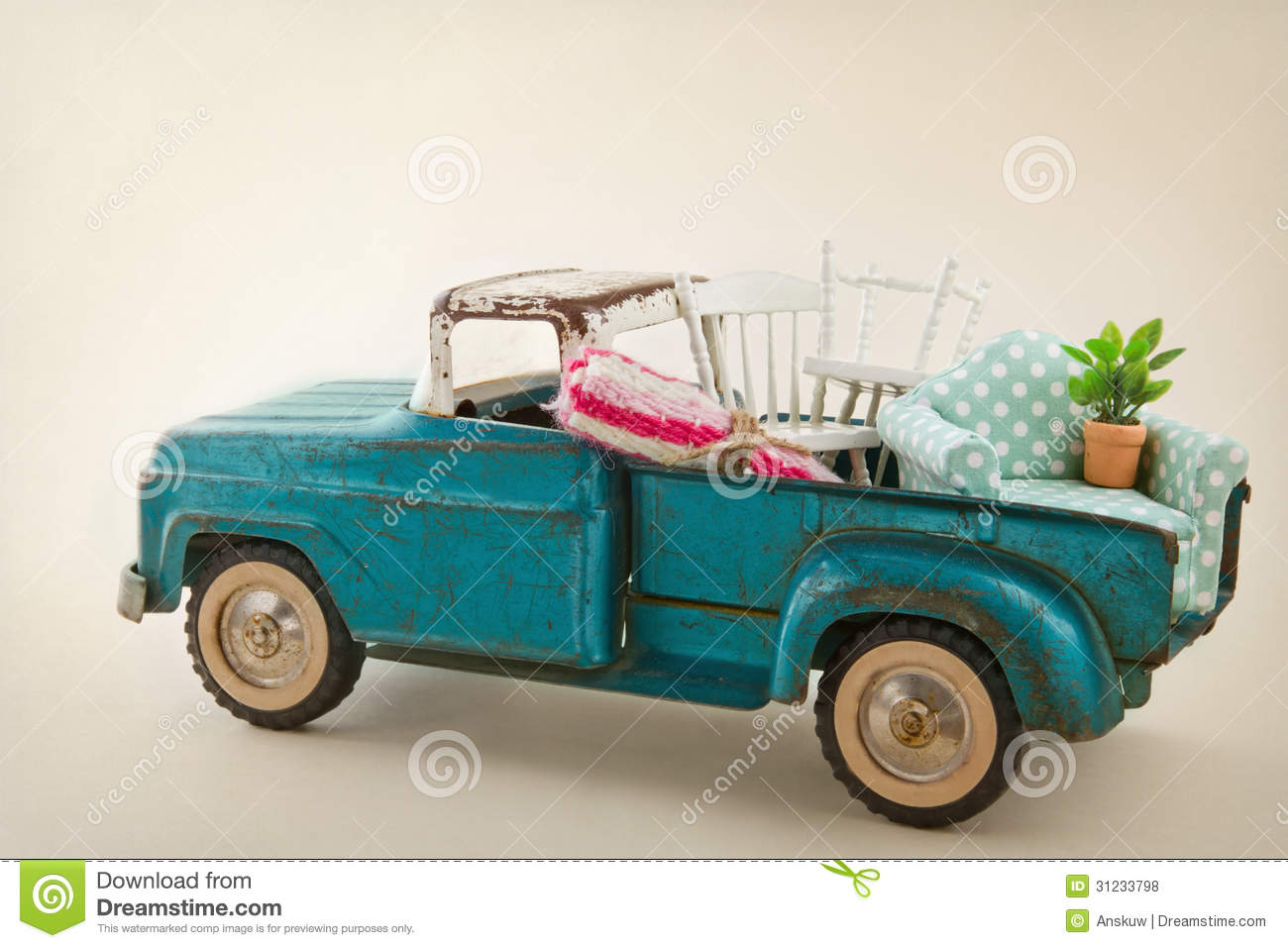 Toy Truck Packed With Furniture Royalty Free Stock Photos