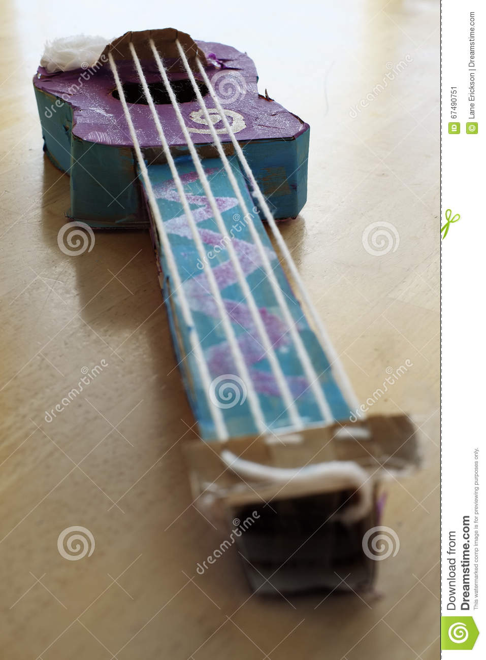 Toy Violins For 3 And Up : Toy violin made of cardboard and strings colors stock