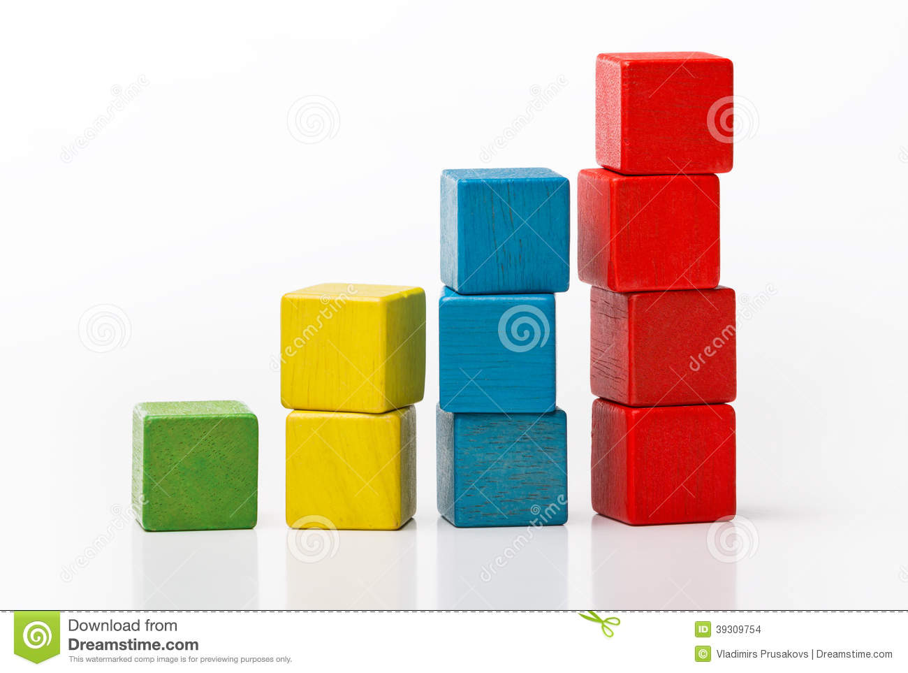 Toy Wooden Blocks As Increasing Graph Bar Stock Photo