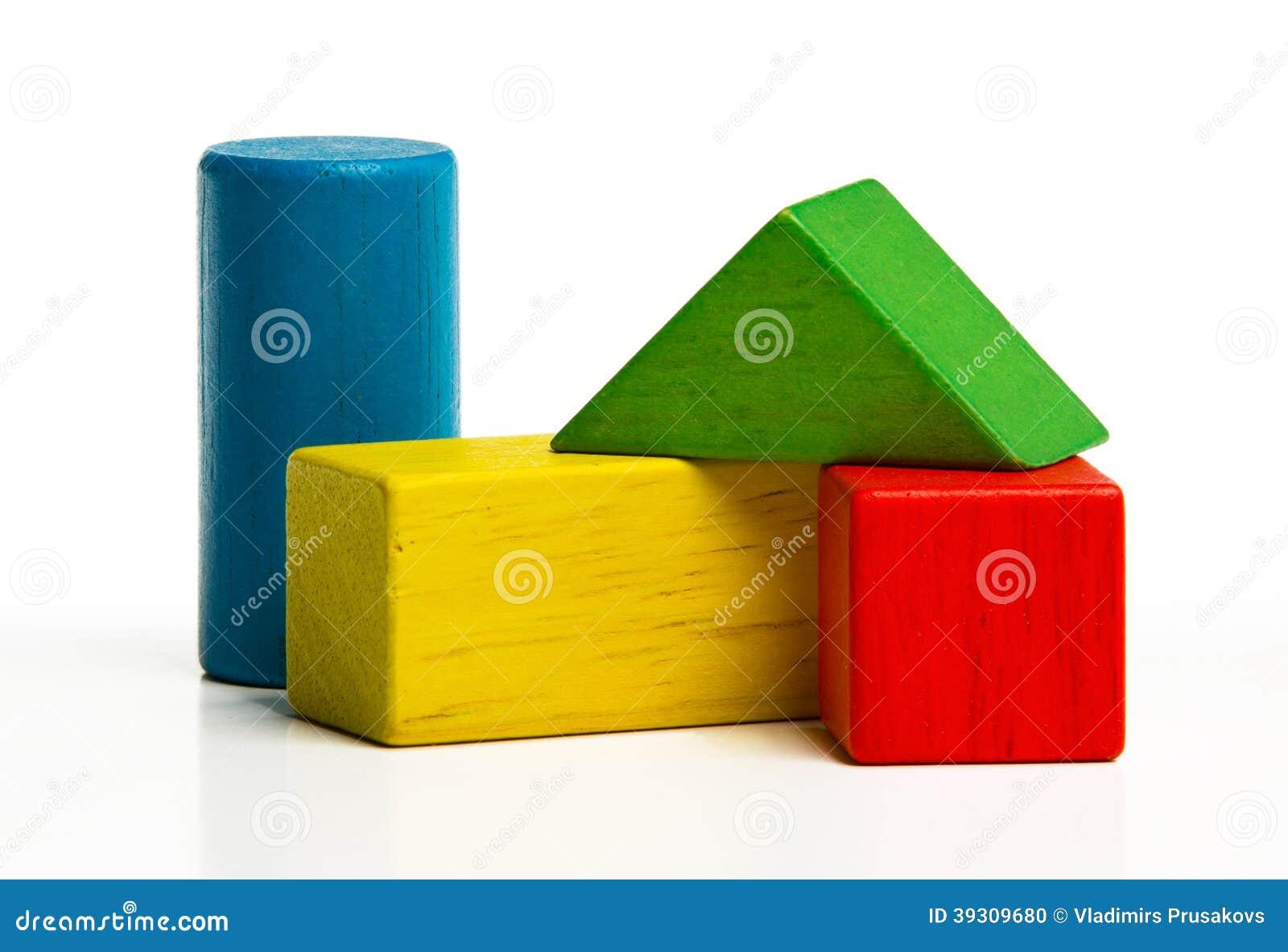 Toy wooden blocks, multicolor bricks