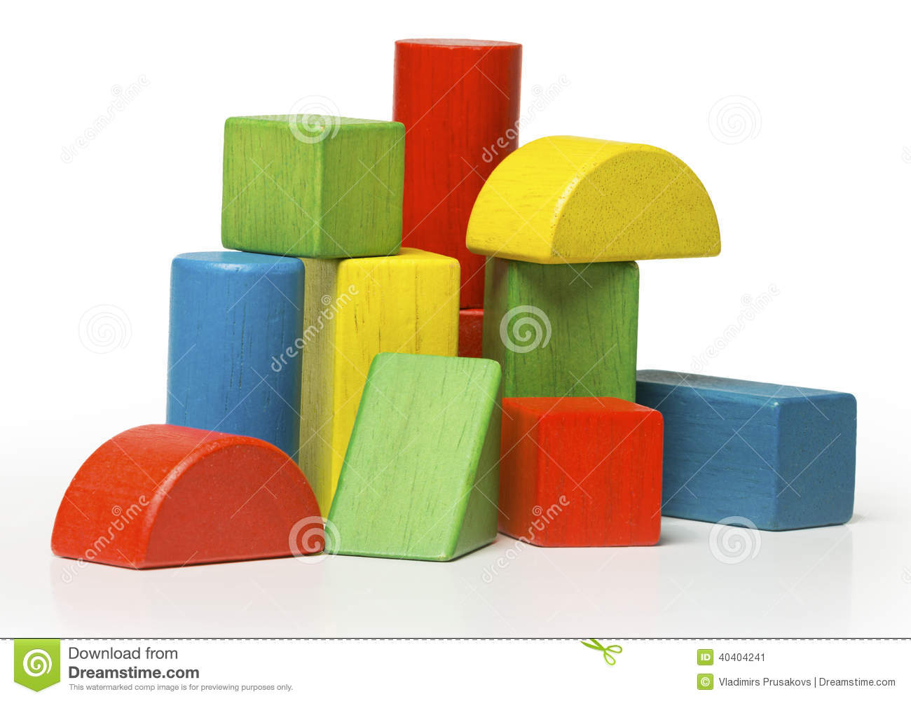Toy Wooden Blocks, Multicolor Building Bricks Over Whit Stock Photo ...