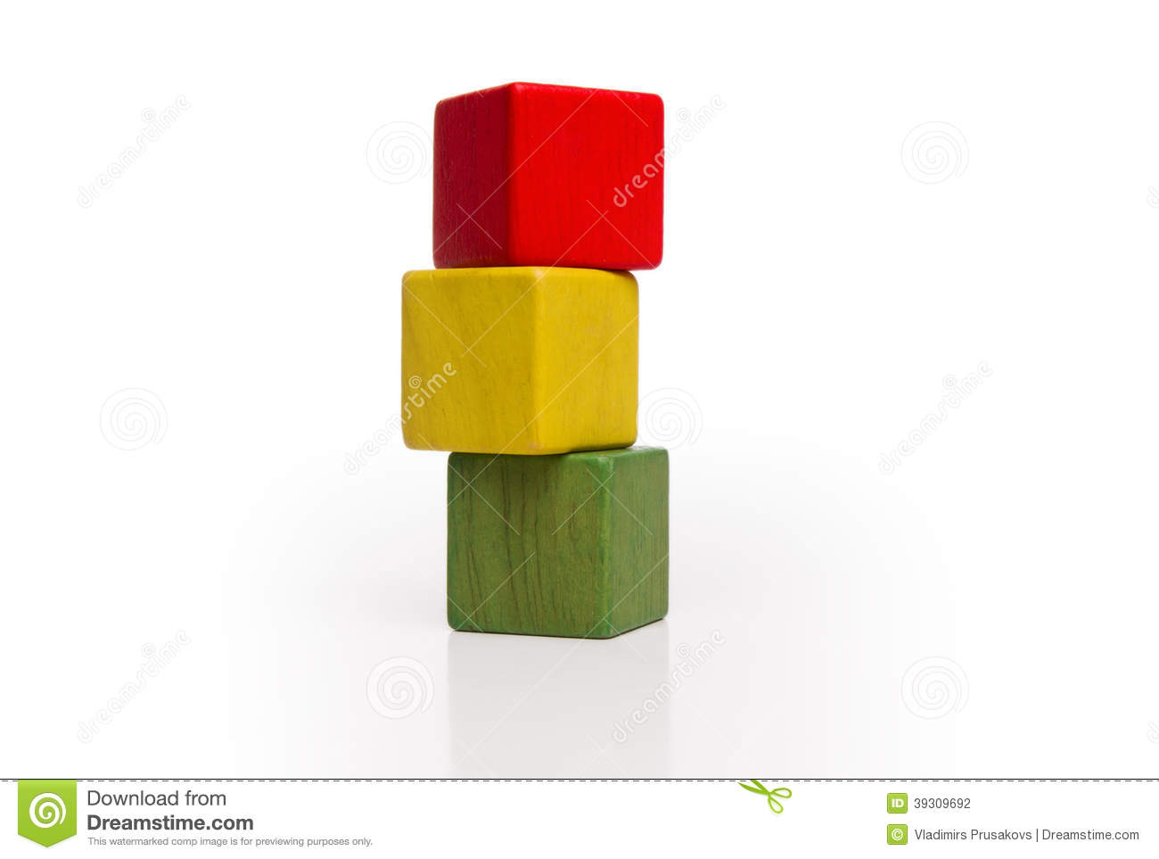 Toy wooden blocks stack, tower of blank multicolor box cube over white ...