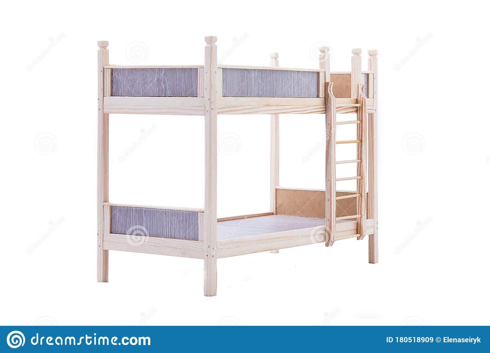 Toy Wooden Bunk Bed For A Doll Isolated On White Stock Image Image Of Isolated Doll 180518909