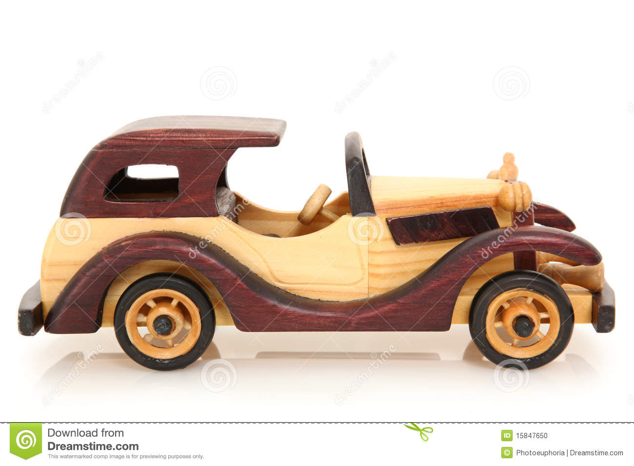 Wooden toy car over white background with reflection. Natural and ...
