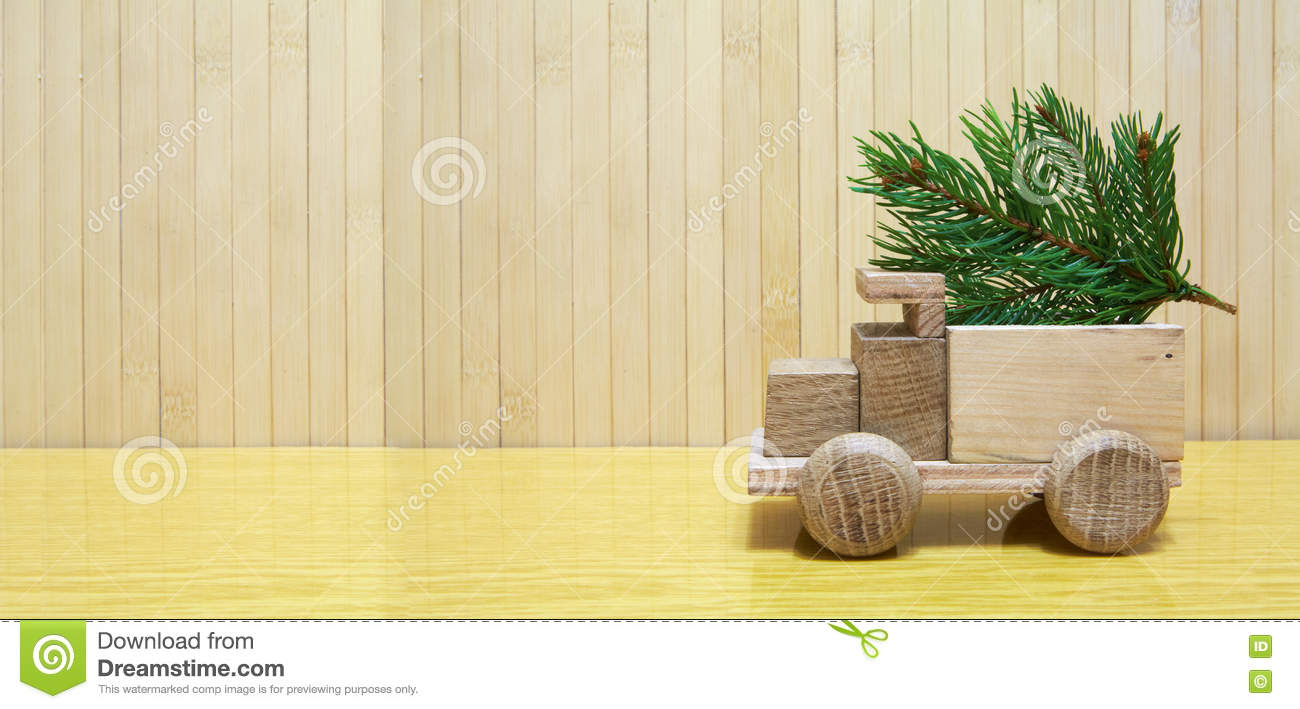Toy Wooden Car And Christmas Tree Stock Photo - Image of carrying ...
