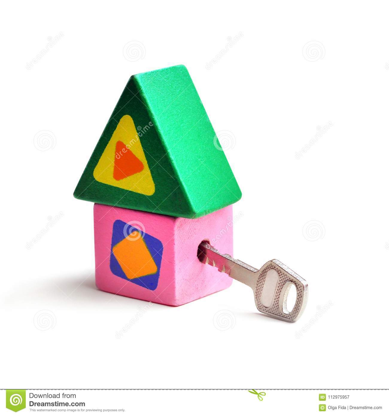 Toy, wooden, colored house with key