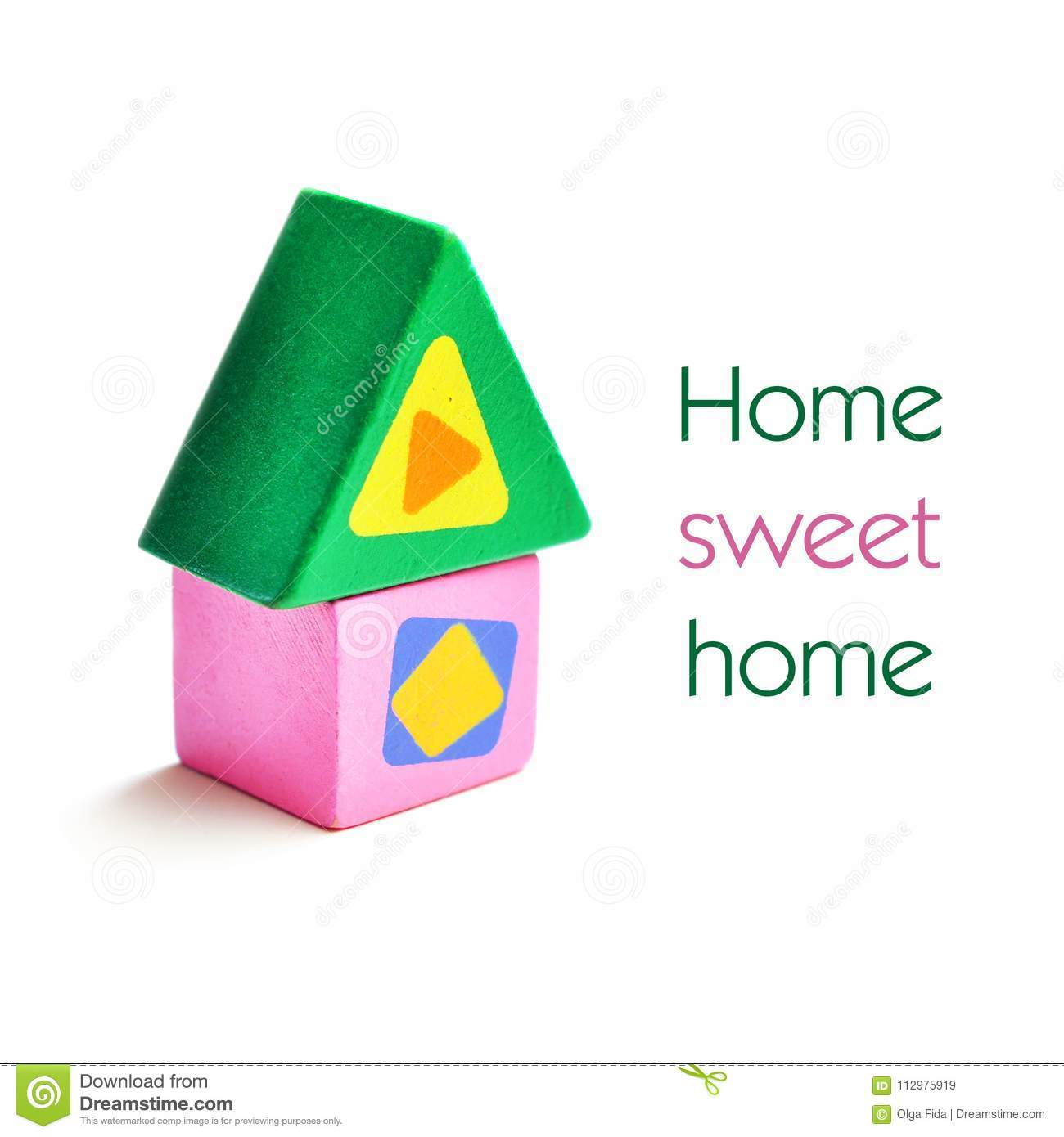 Toy, wooden, colored house