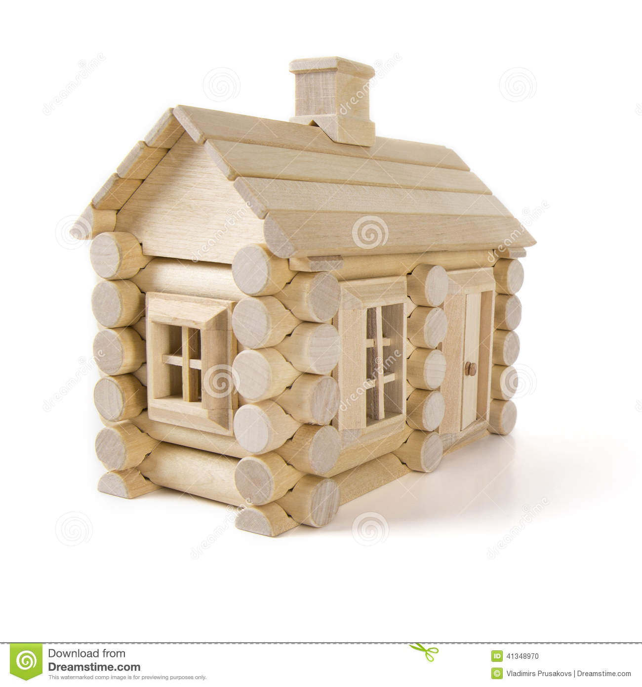 toy wooden house isolated on white little cottage home of wood toy ...