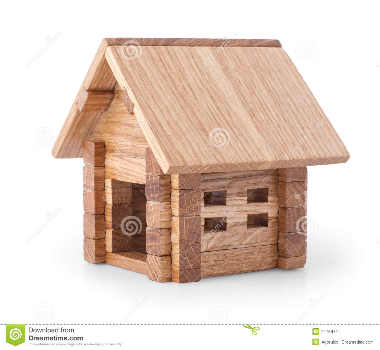 Toy Wooden House Over White Stock Image - Image: 21764711