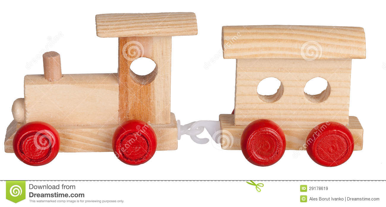 Toy Wooden Train With Coach Royalty Free Stock Images - Image ...