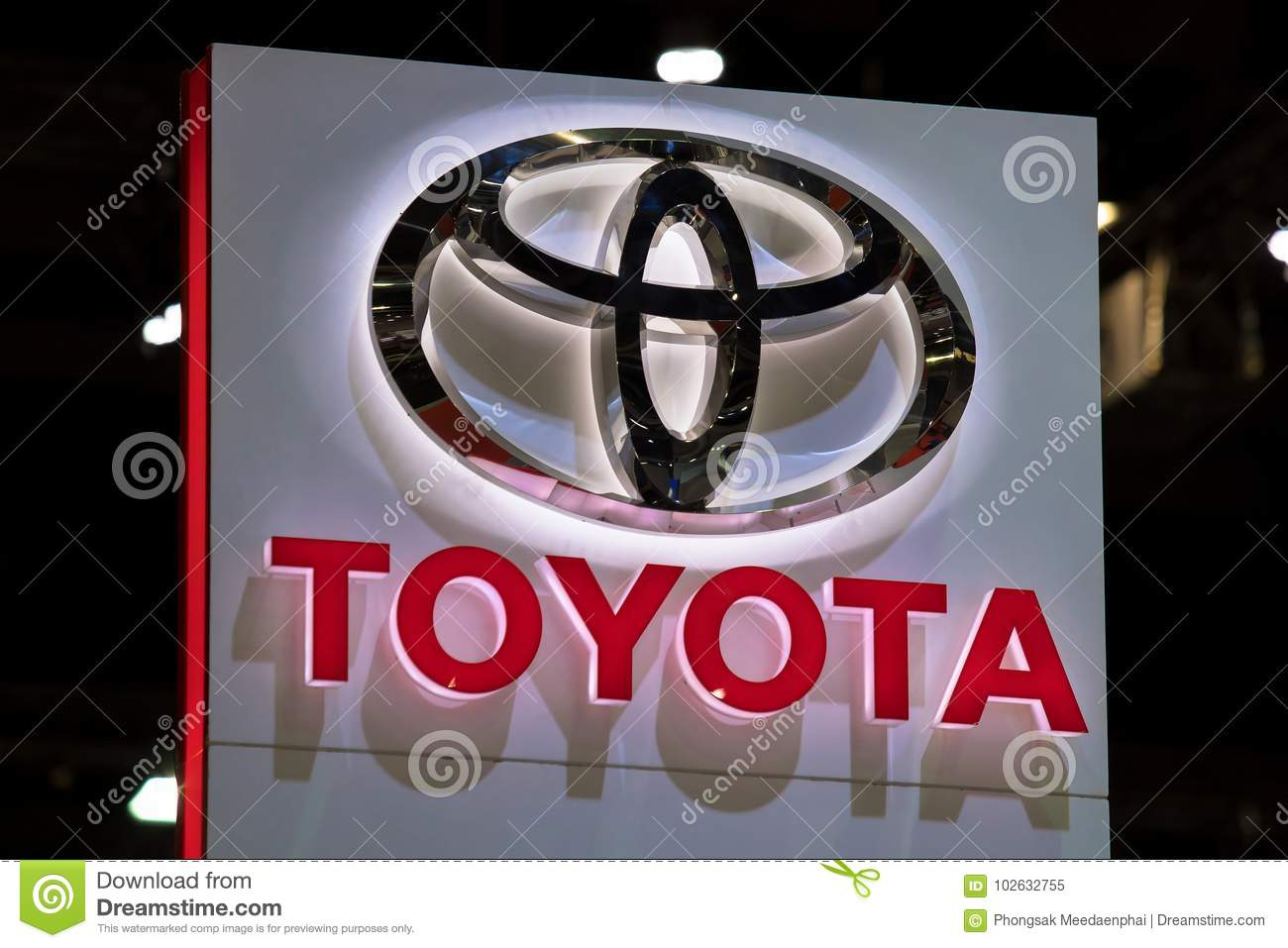 Toyota Car Logo At Motor Show Editorial Image Image Of Showroom