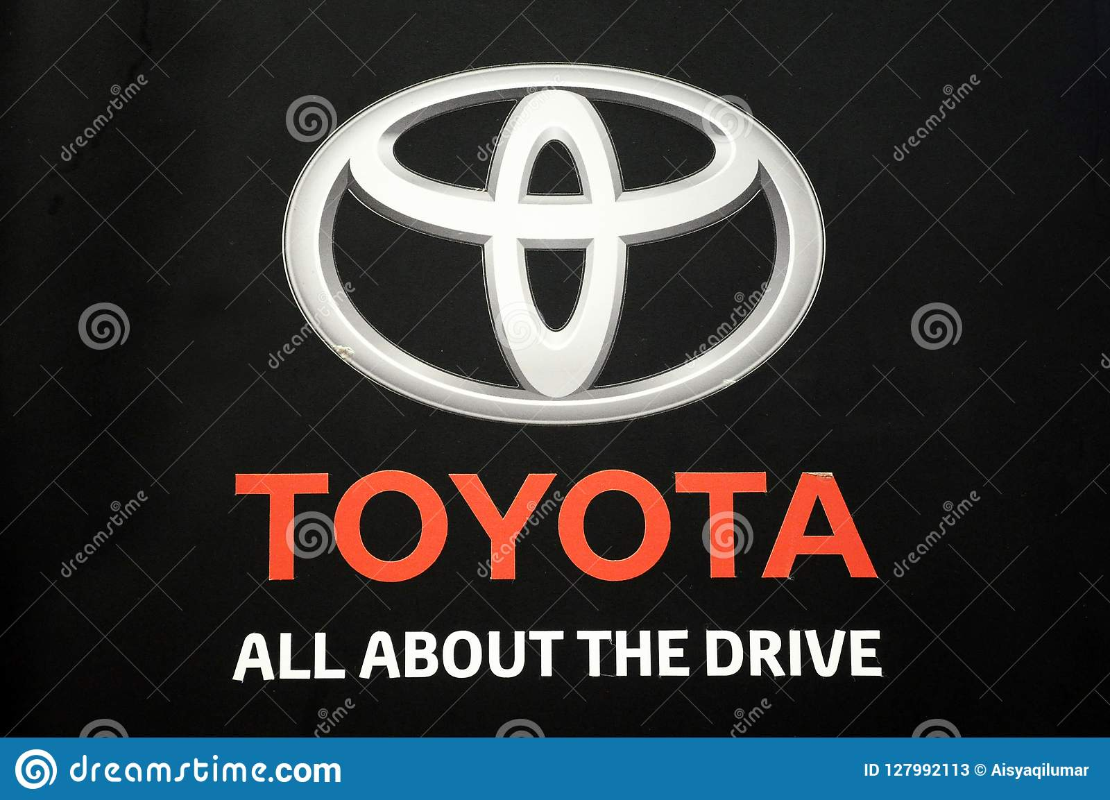 TOYOTA Commercial Brand Emblem And Logos At The Car Body