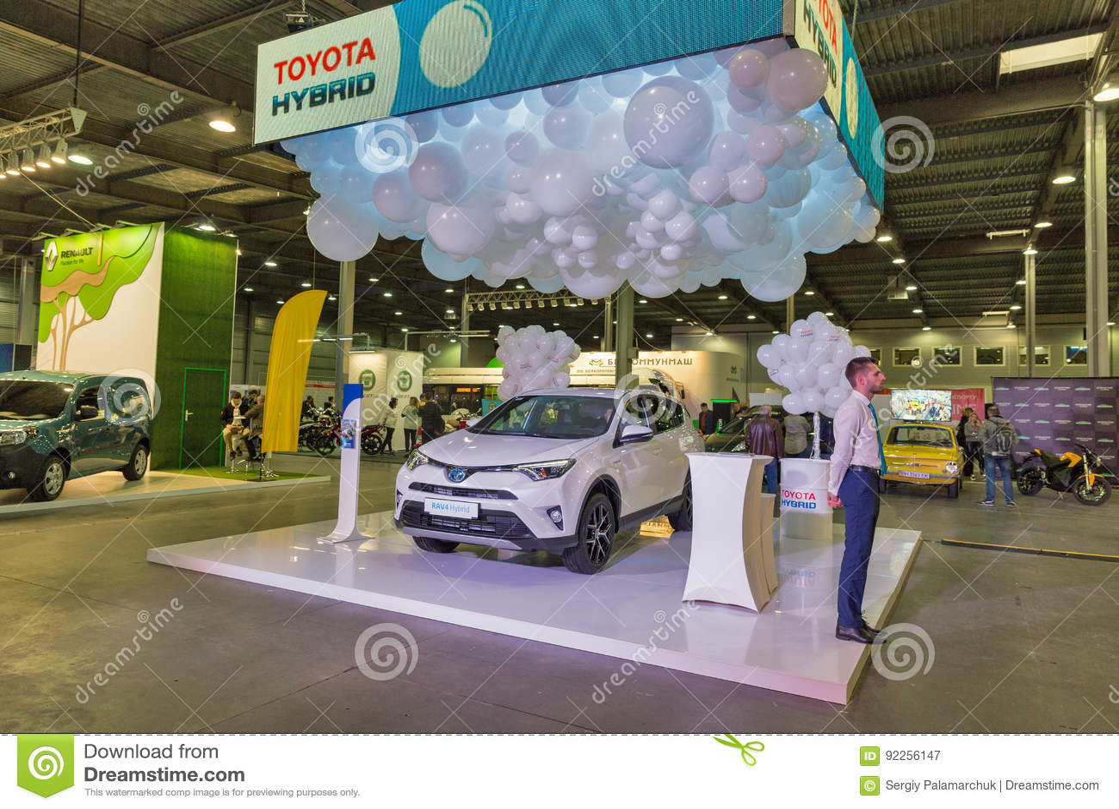 toyota hybrid car booth on kiev plug in ukraine 2017 exhibition editorial photo cartoondealer. Black Bedroom Furniture Sets. Home Design Ideas