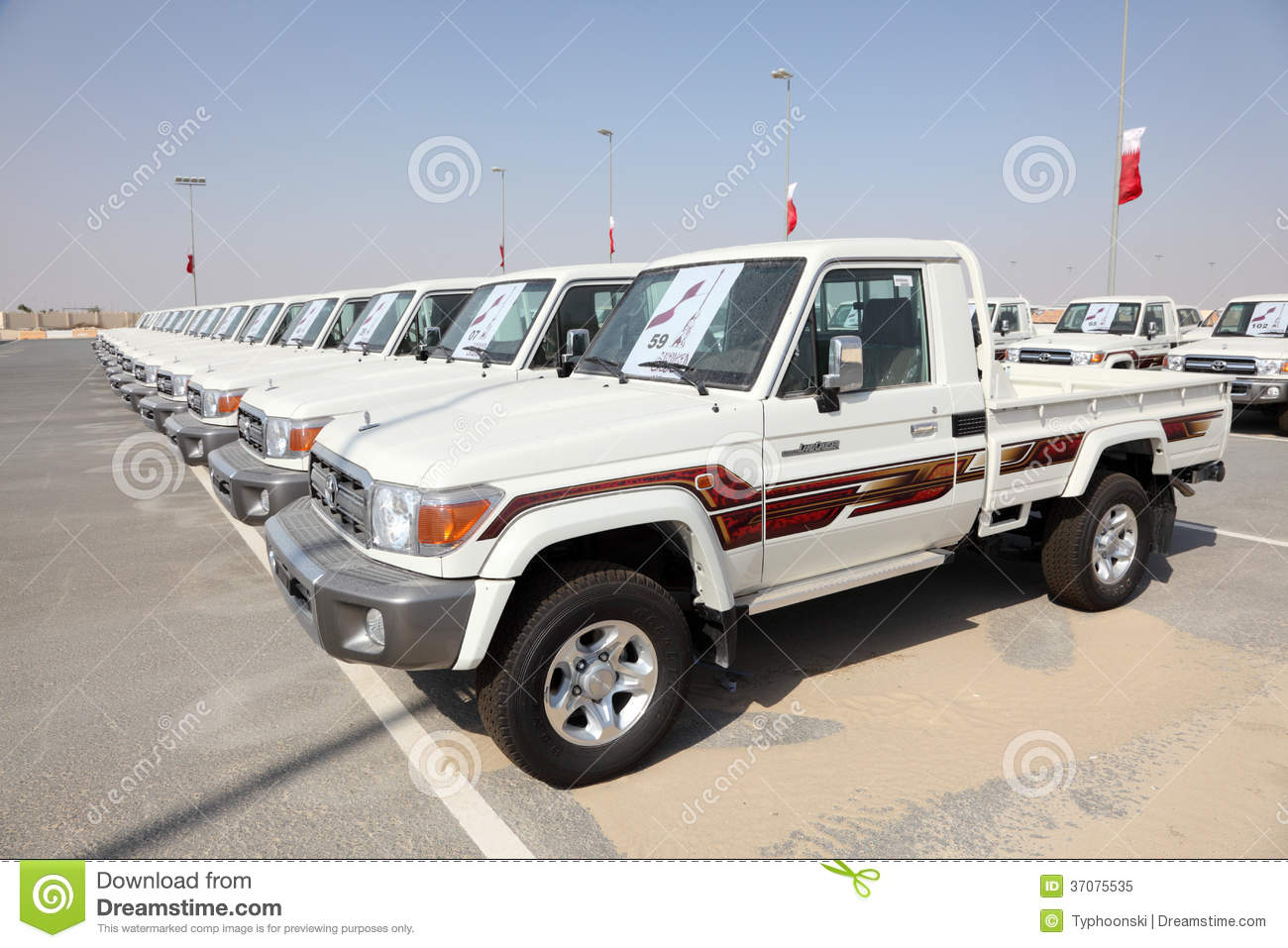 ... Cruiser Pickup Trucks as award for Camel Race winners n Doha, Qatar