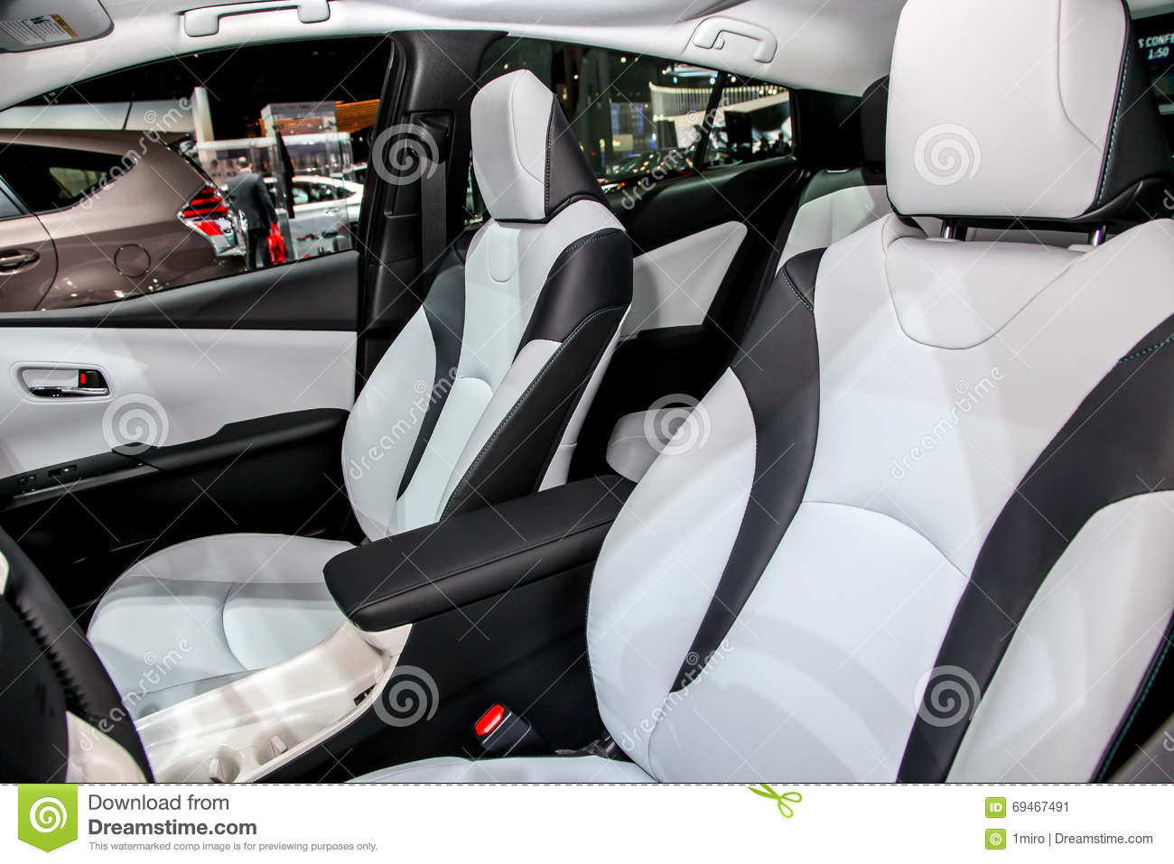 a toyota prius detail from interior on exhibit at the 2016 new editorial photo image 69467491. Black Bedroom Furniture Sets. Home Design Ideas