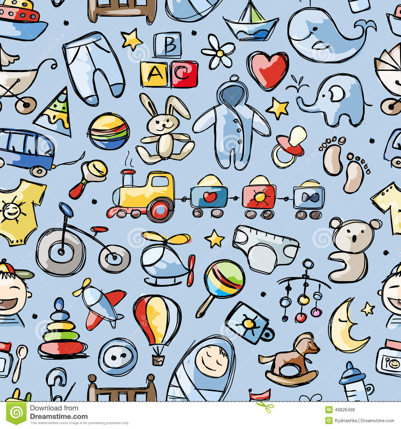 Toys For Baby Boy Seamless Pattern For Your Stock Vector