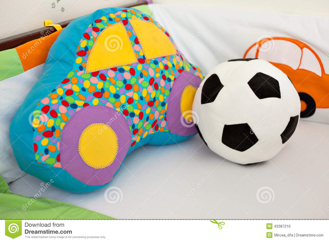 Football Toys For Boys : Toys in a baby crib stock photo image of football clean