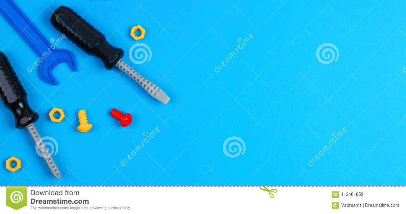 Toys Banner Background Toy Tools On Blue Stock Image