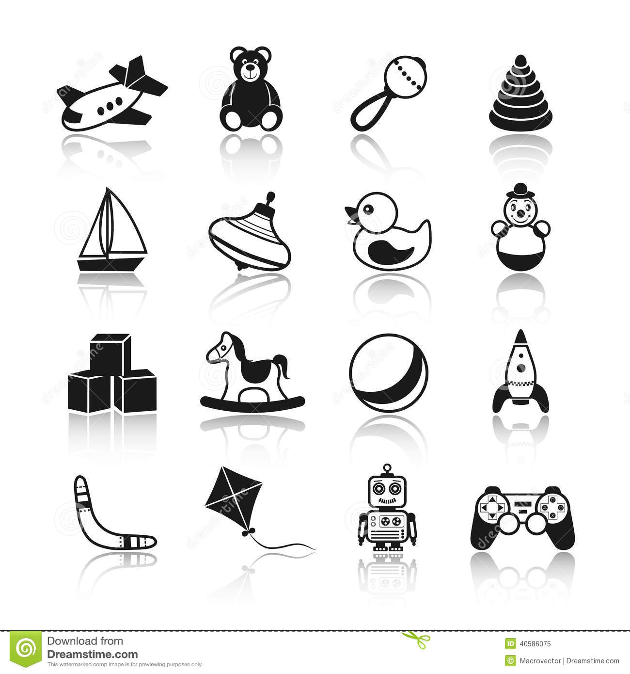 Toddler Toys Black And White : Toys black icons set stock vector image