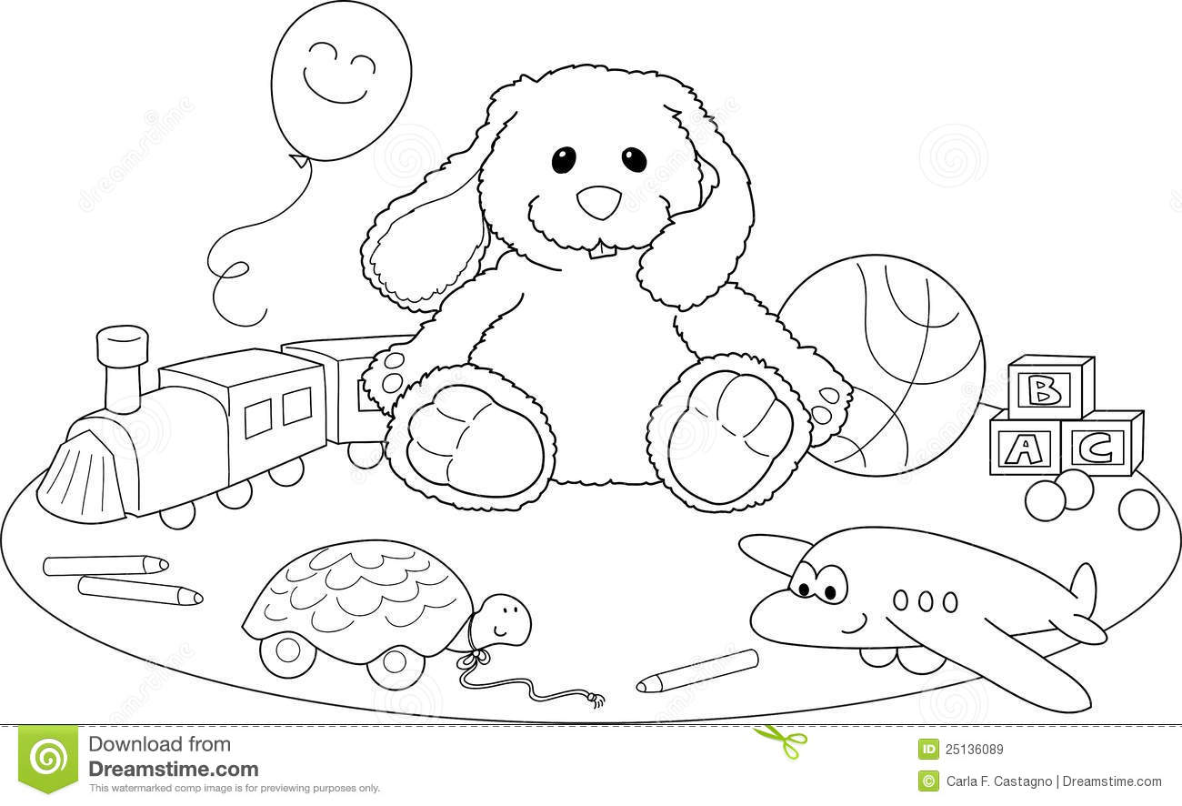 Toys For Boys To Color : Toys coloring vector stock illustration of objects
