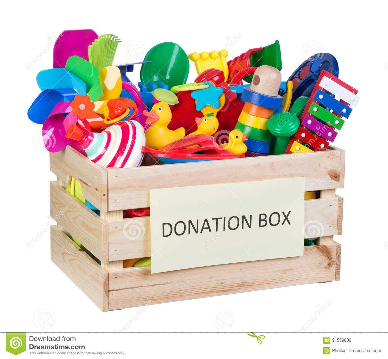 Toys For Donation : Toys donations box stock image of help duck