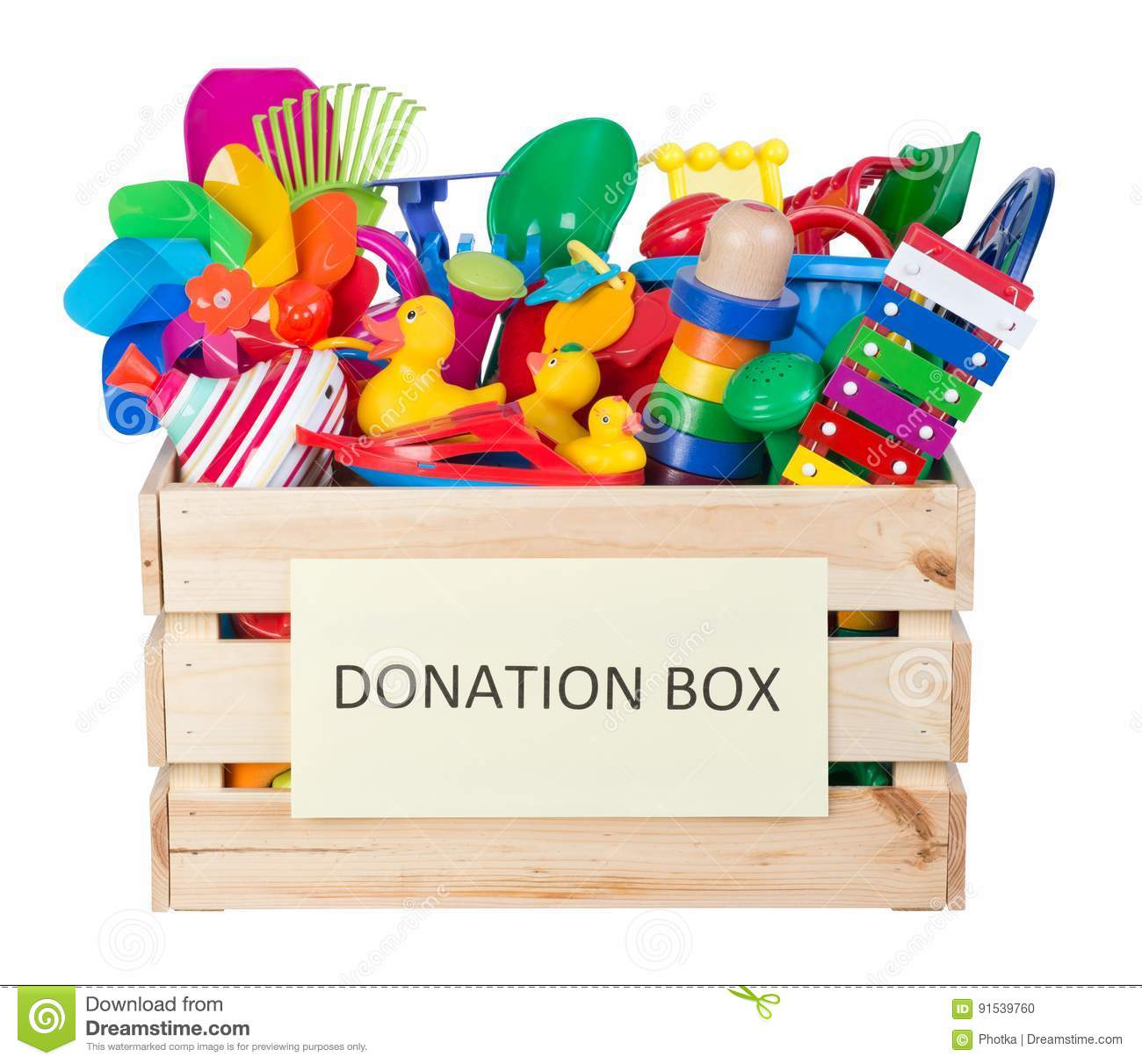 Toys donations box isolated on white background