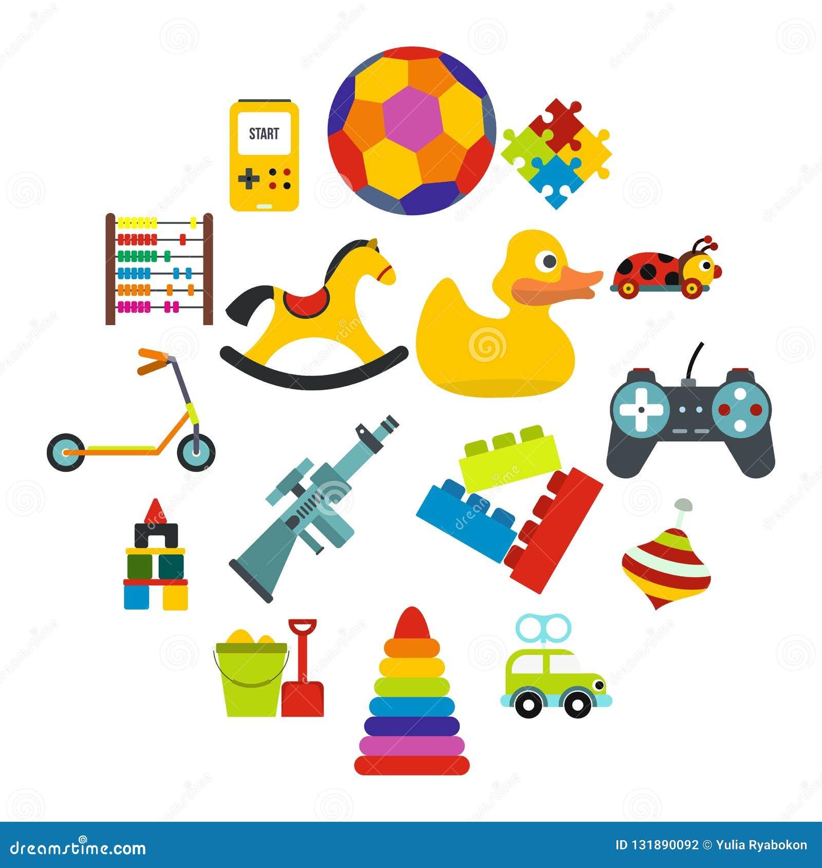 Toys flat icons set. Isolated on white background stock photography