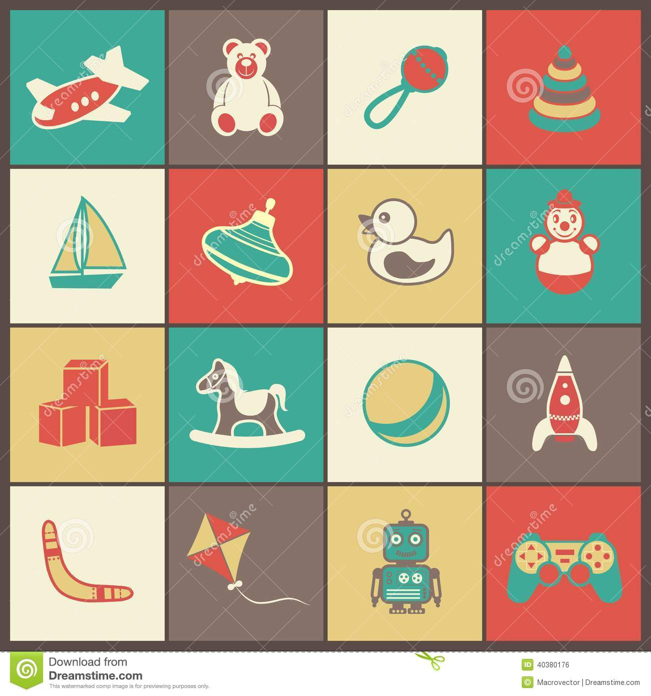 Toys Flat Icons Set Stock Vector Image Of Mobile