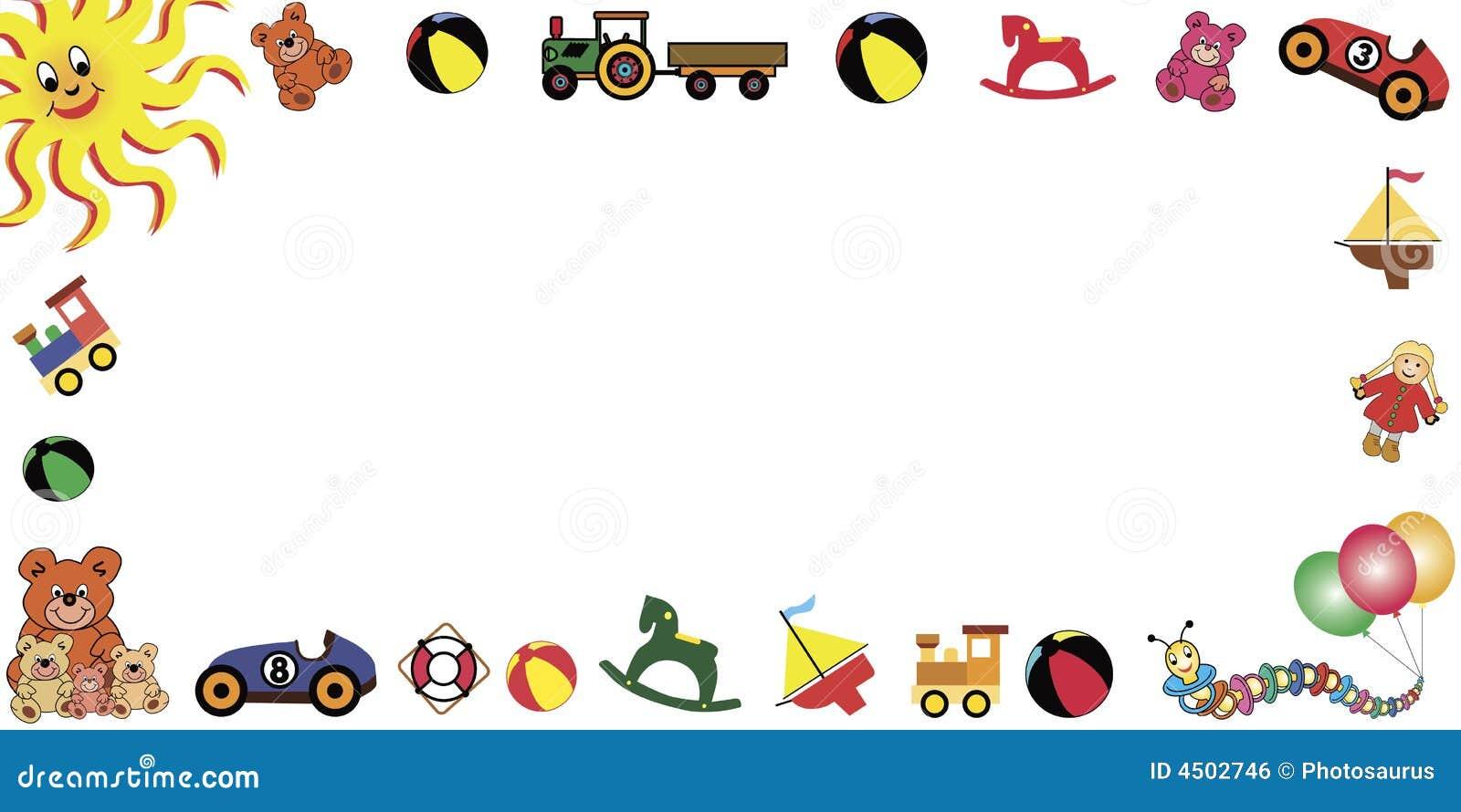 Toys frame horizontal stock vector. Illustration of carnival - 4502746