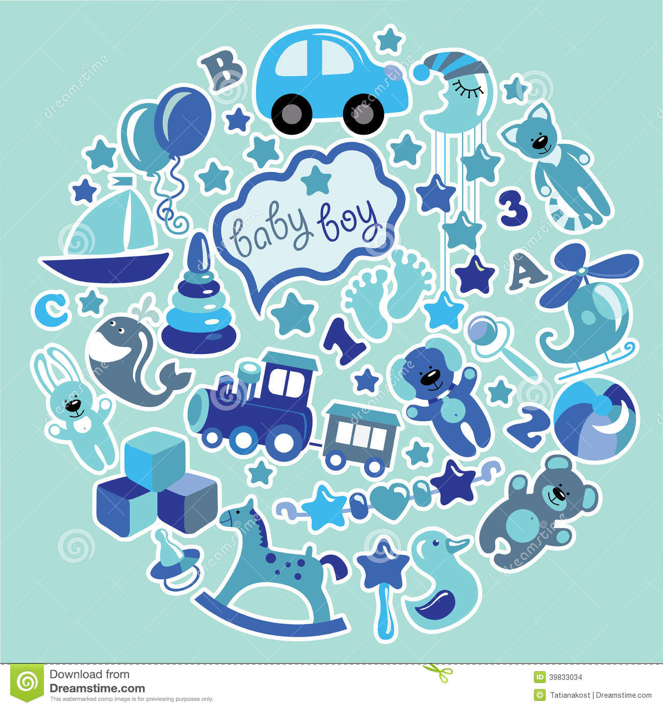Toys Icons For Baby Boy In Circle Blue Colors Stock Vector