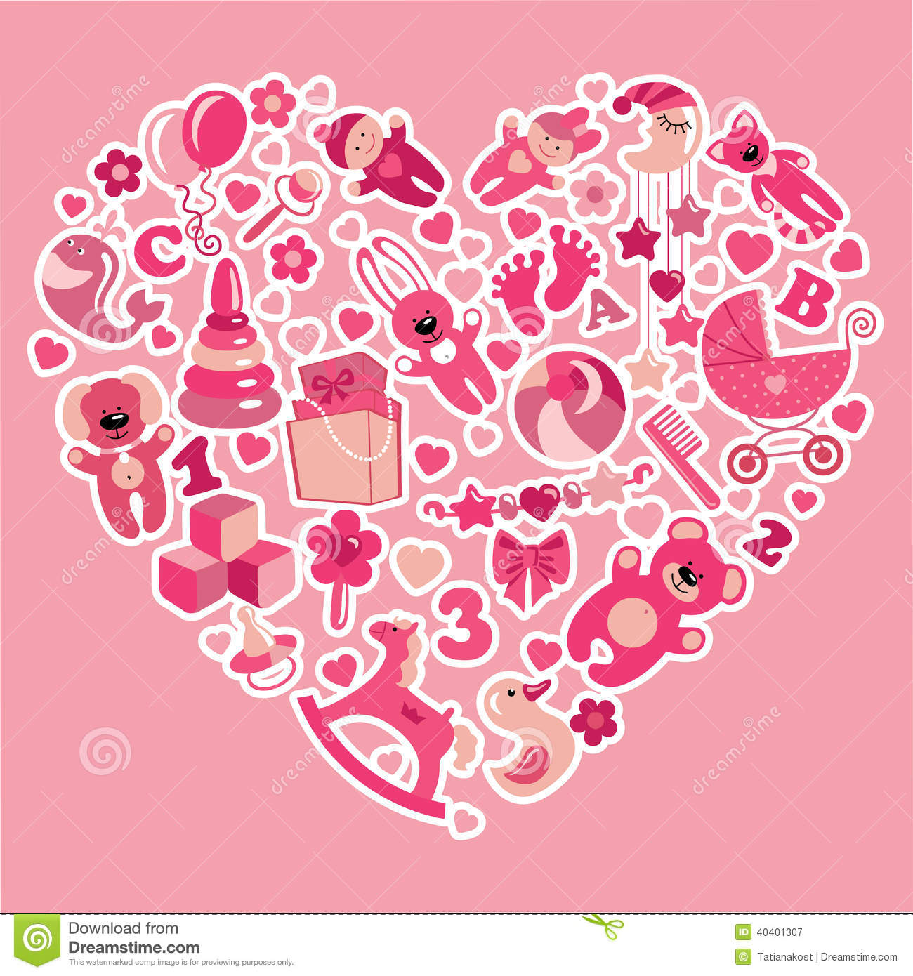01c05b46e524 Toys Icons For Baby Girl In Heart.Pink Colors Stock Vector ...