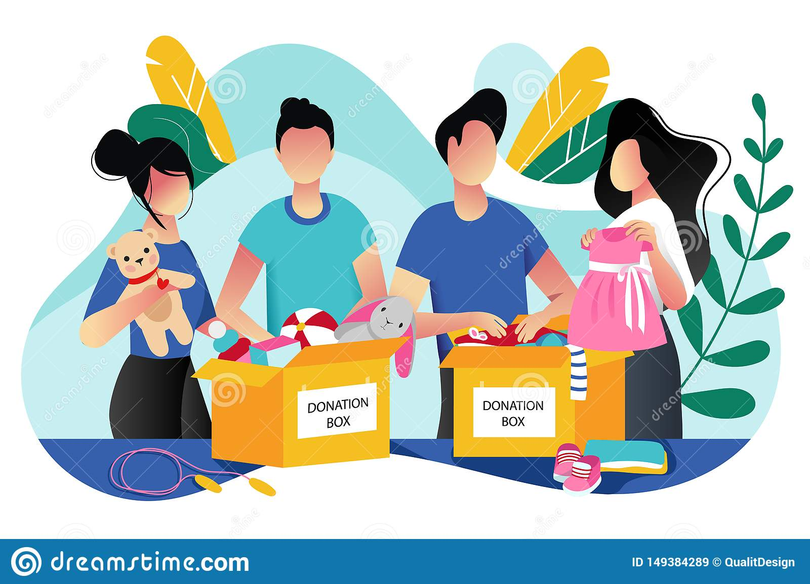 Toys and kids clothes donation. Vector trendy flat cartoon illustration. Social care, volunteering and charity concept