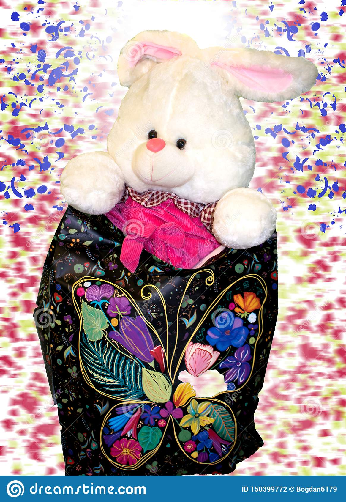 Toys for kids.the little rabbit is ready to be offered a gift