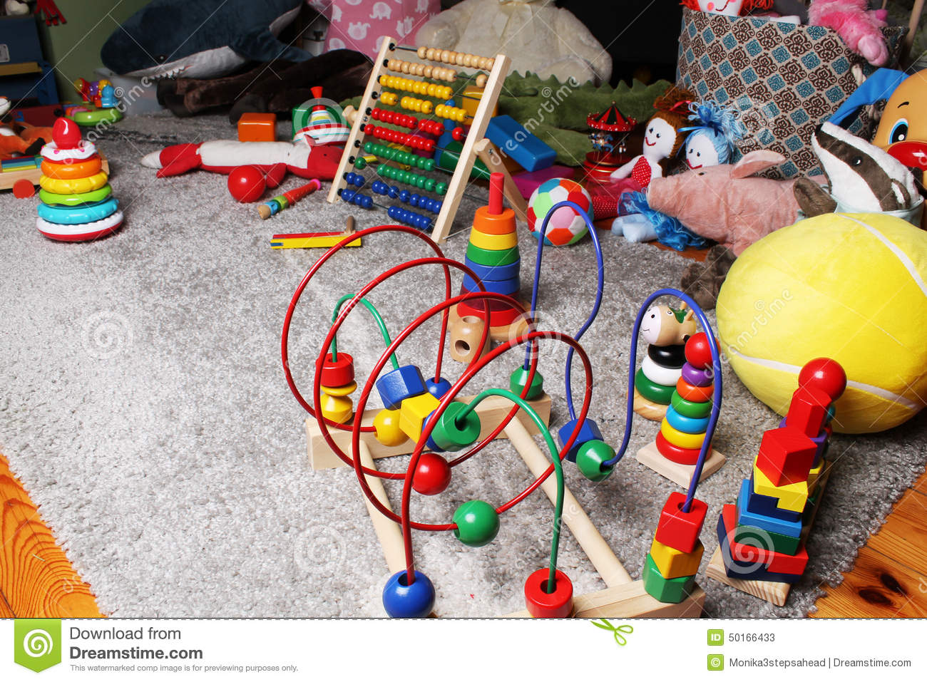 Kids Room With Toys toys in kids room on the floor stock photo - image: 50166433