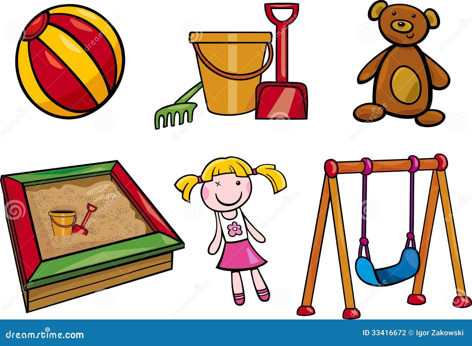 Toys Objects Cartoon Illustration Set Stock Photography
