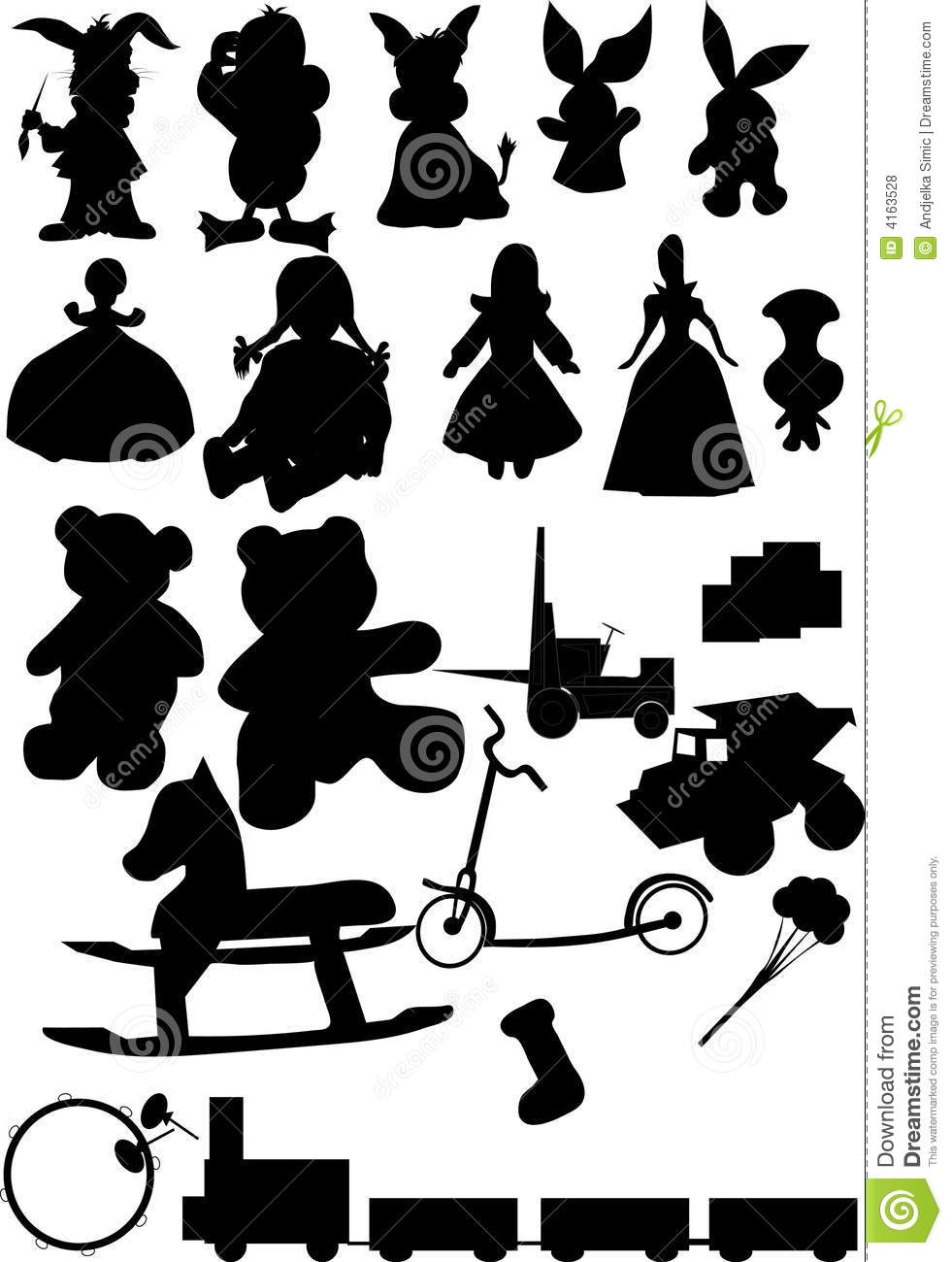 Toys Silhouette Vector Stock Vector Illustration Of Education 4163528