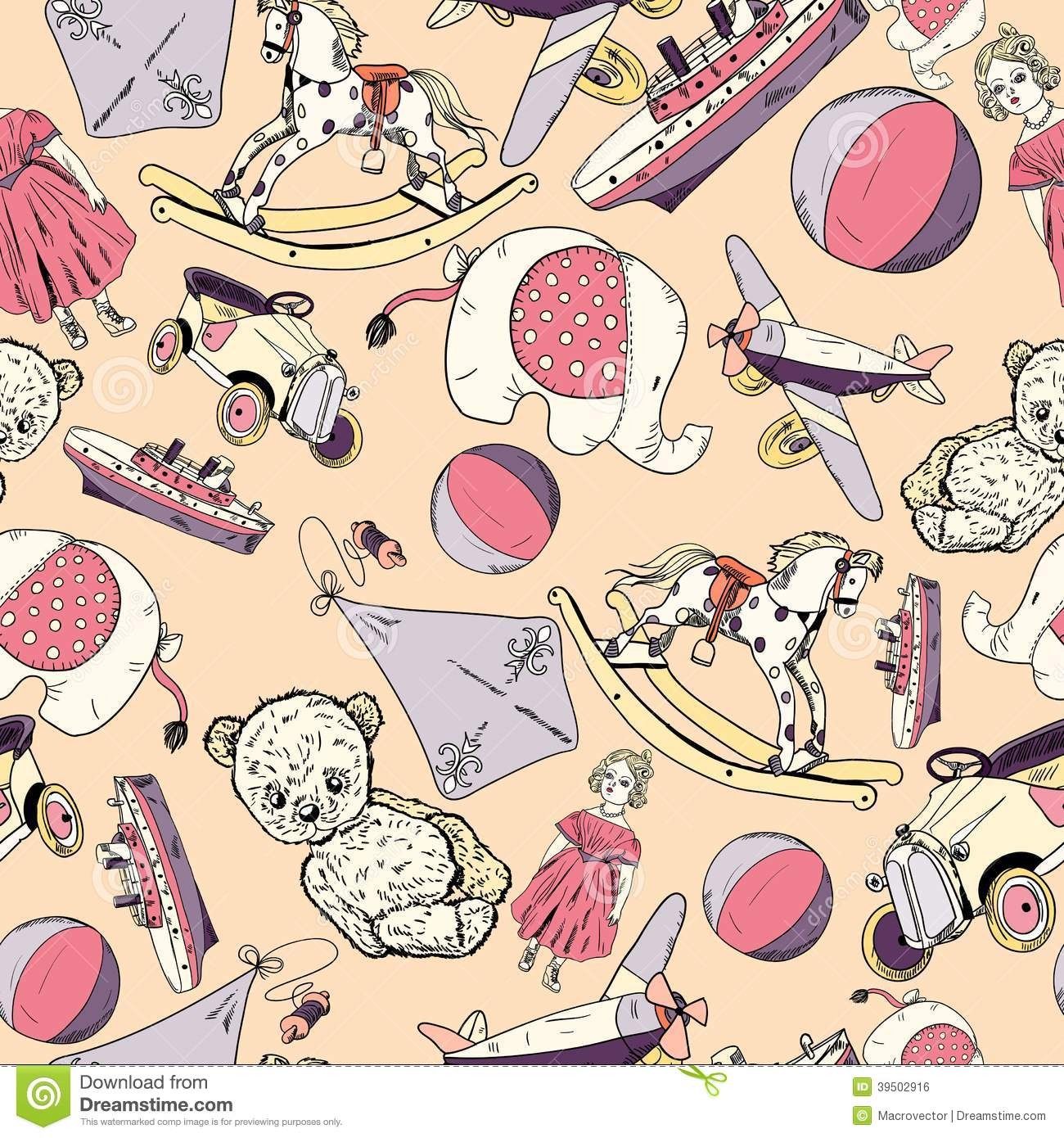 Toys Sketch Seamless Pattern Stock Vector Illustration Of Rocking