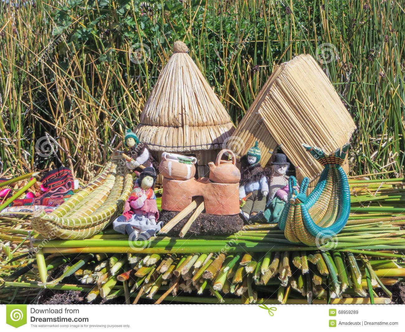 Toys Souvenirs And Handicrafts Made At Uros Floating Island And
