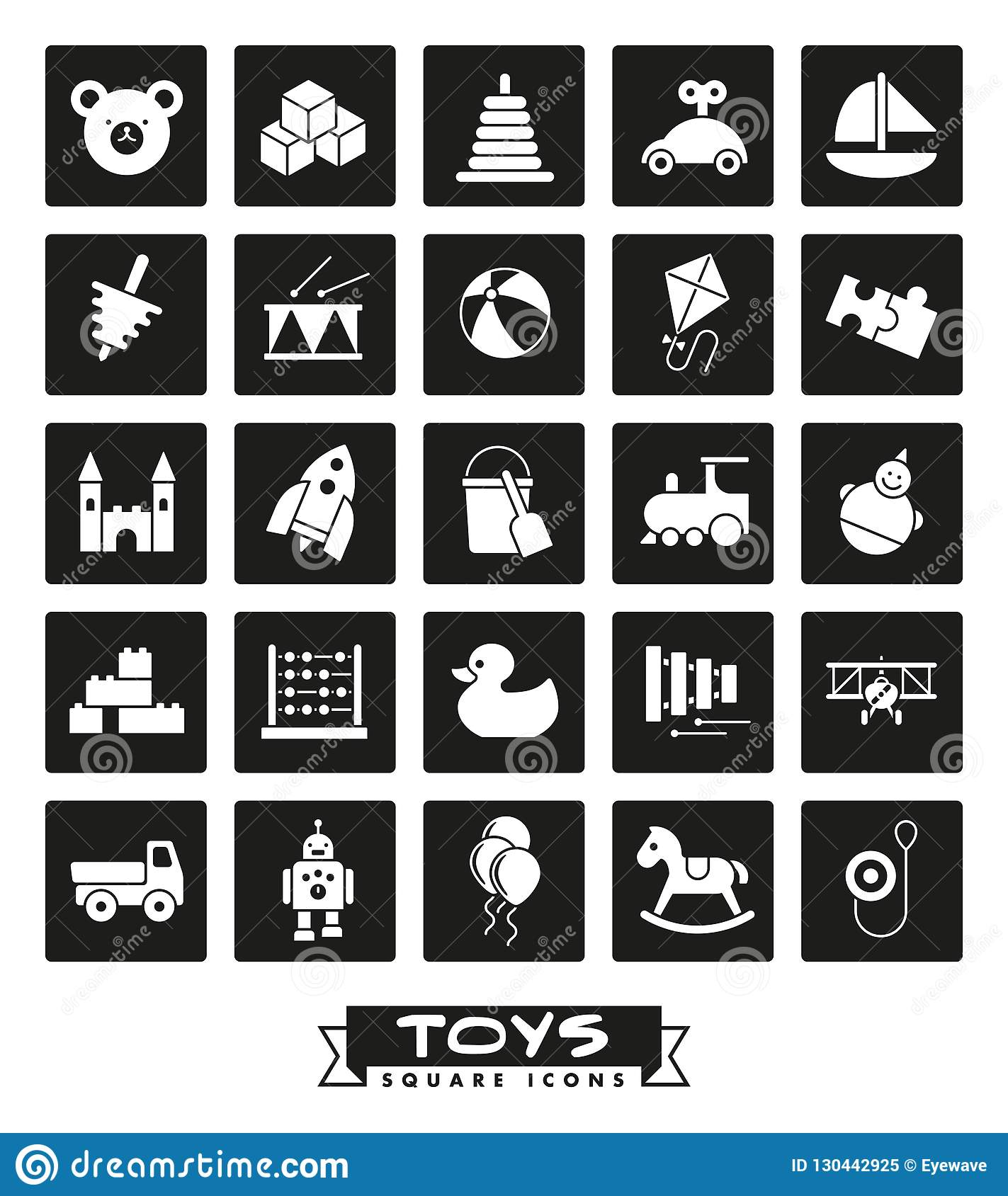 aeb766fafe Toys Square Glyph Icons Vector Set. Stock Vector - Illustration of ...