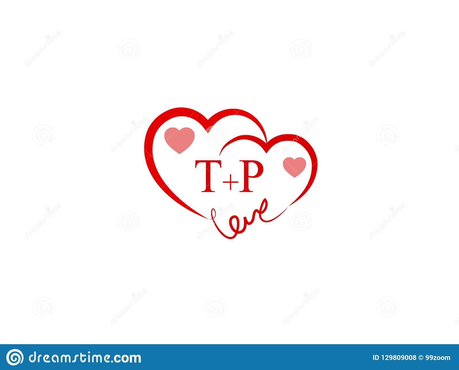 TP Initial Heart Shape Red Col...