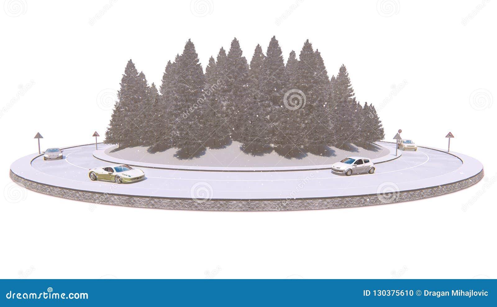 Tráfego do inverno, isolado no fundo branco, ilustração 3d