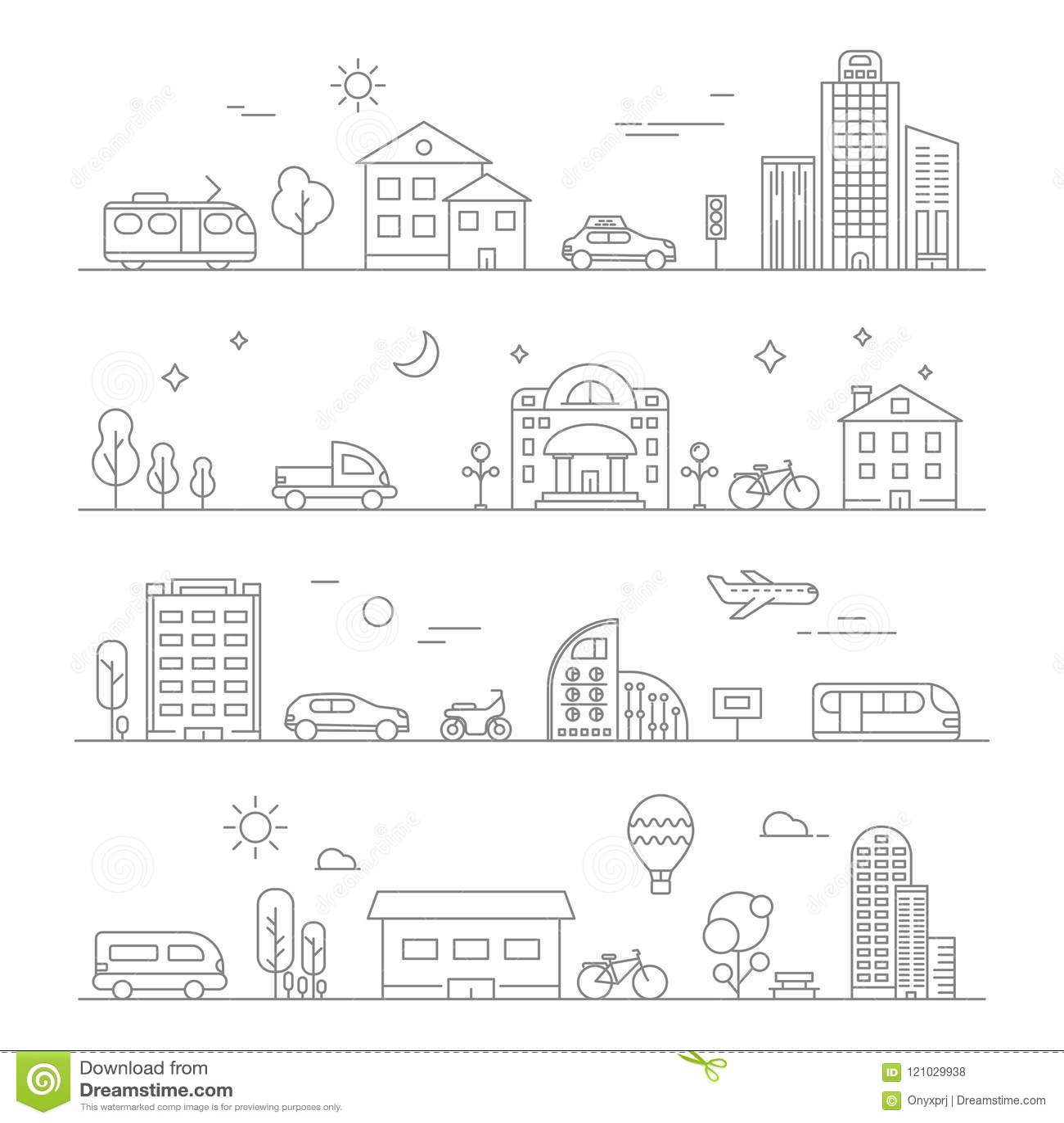 Tráfego urbano Isolado linear dos símbolos do transporte