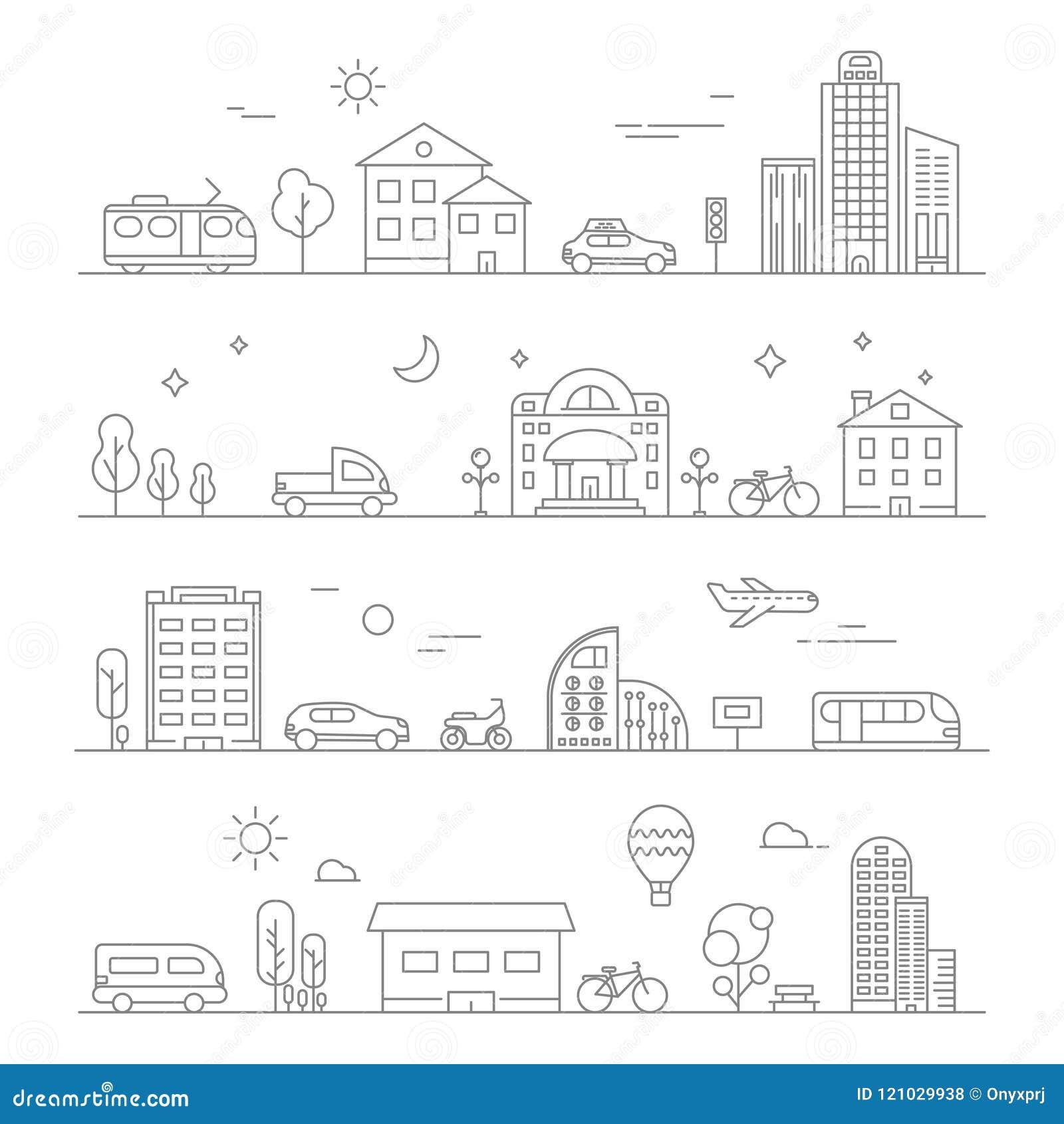 Tráfico urbano Aislante linear de los símbolos del transporte