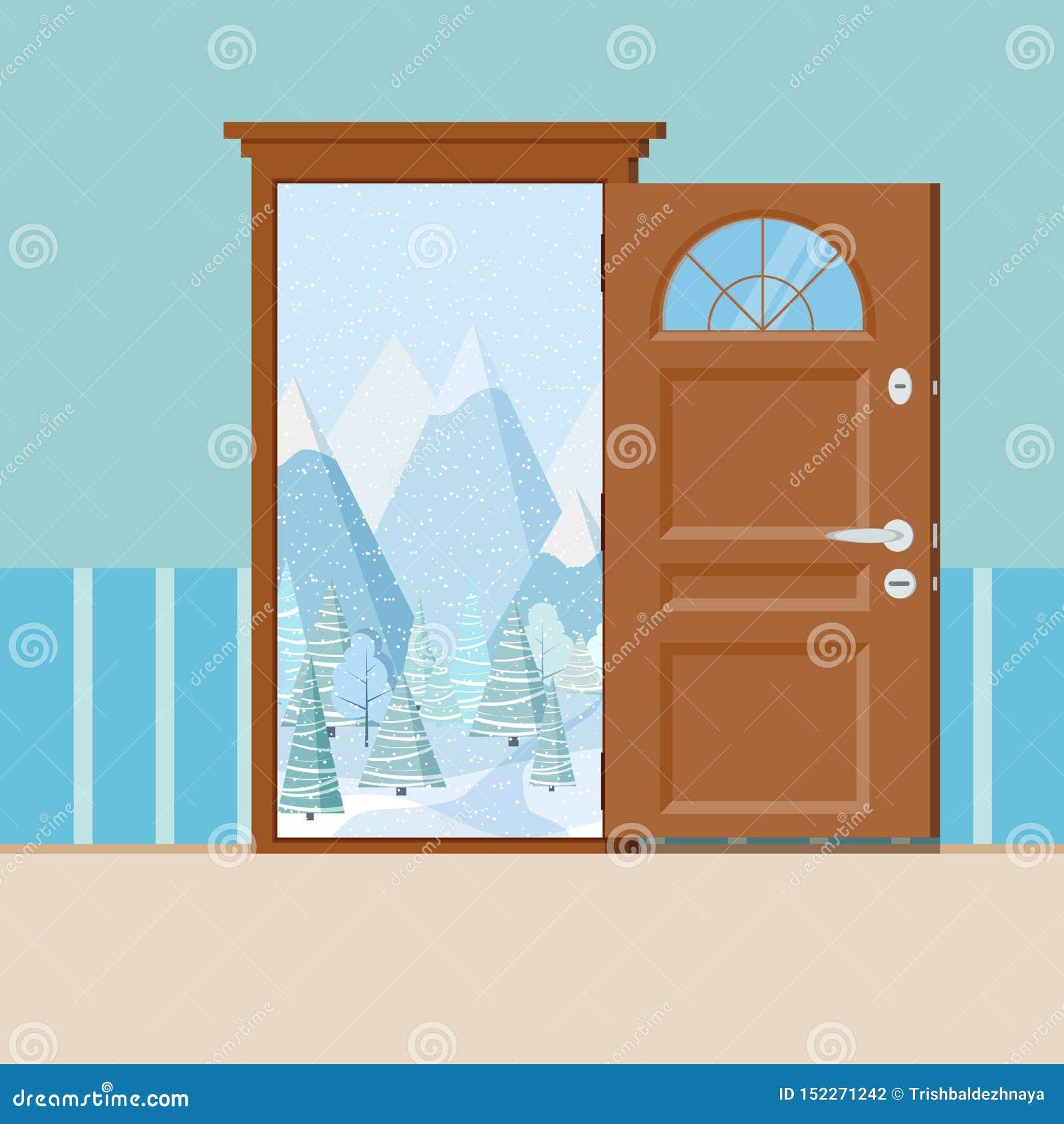Träöppen dörr med ramen i plan stil för tecknad film