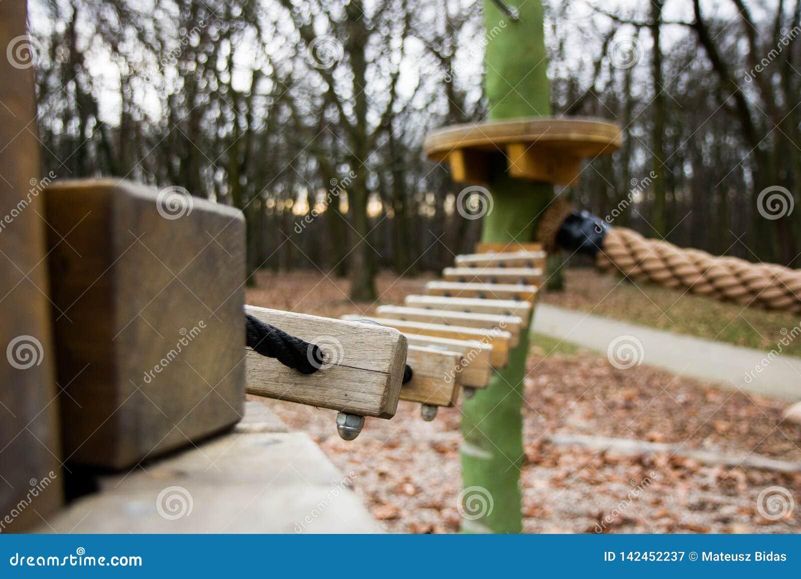 Träbro i lekplatsen i skogen