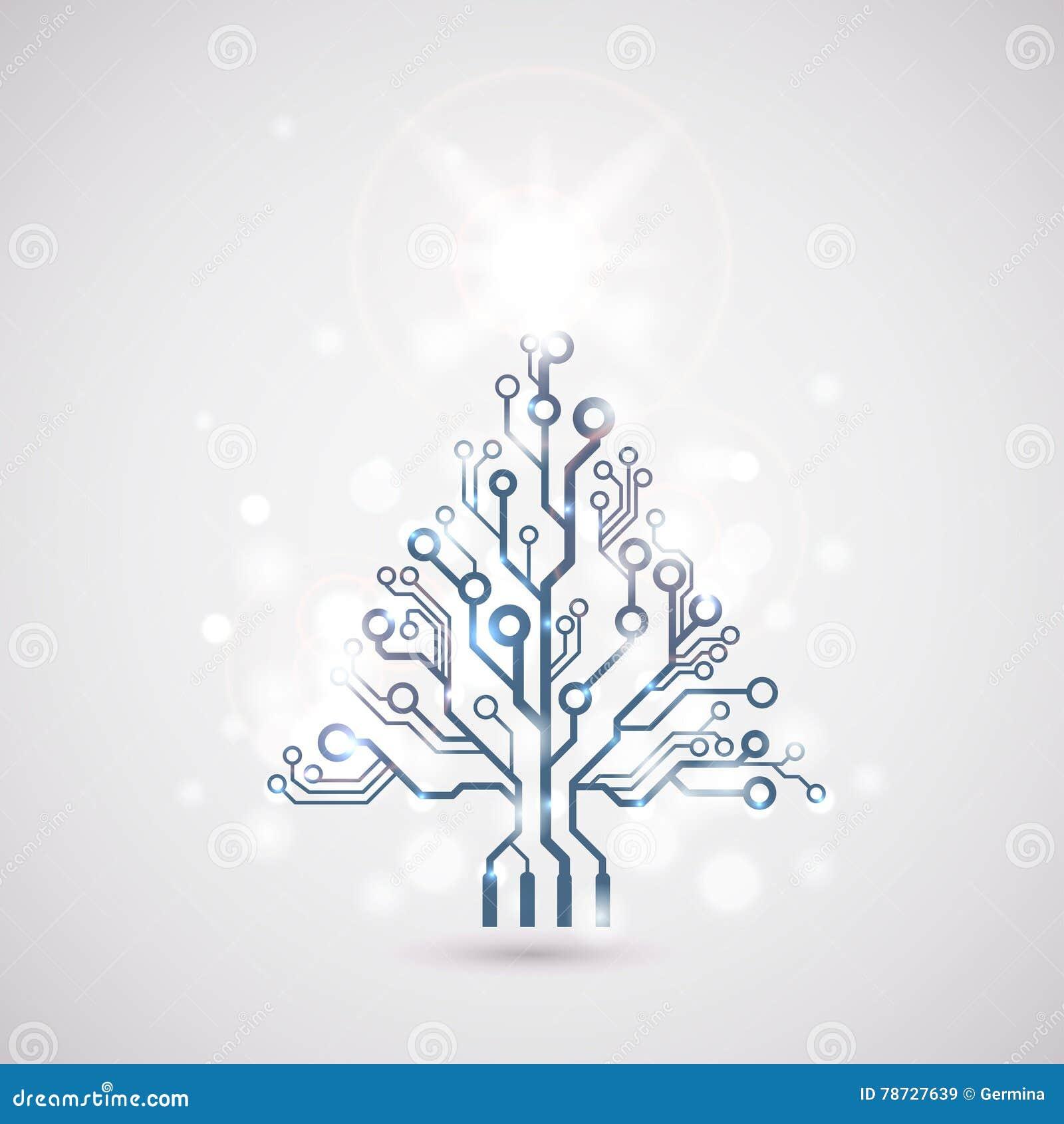 Träd för jul för vektorströmkretsbräde