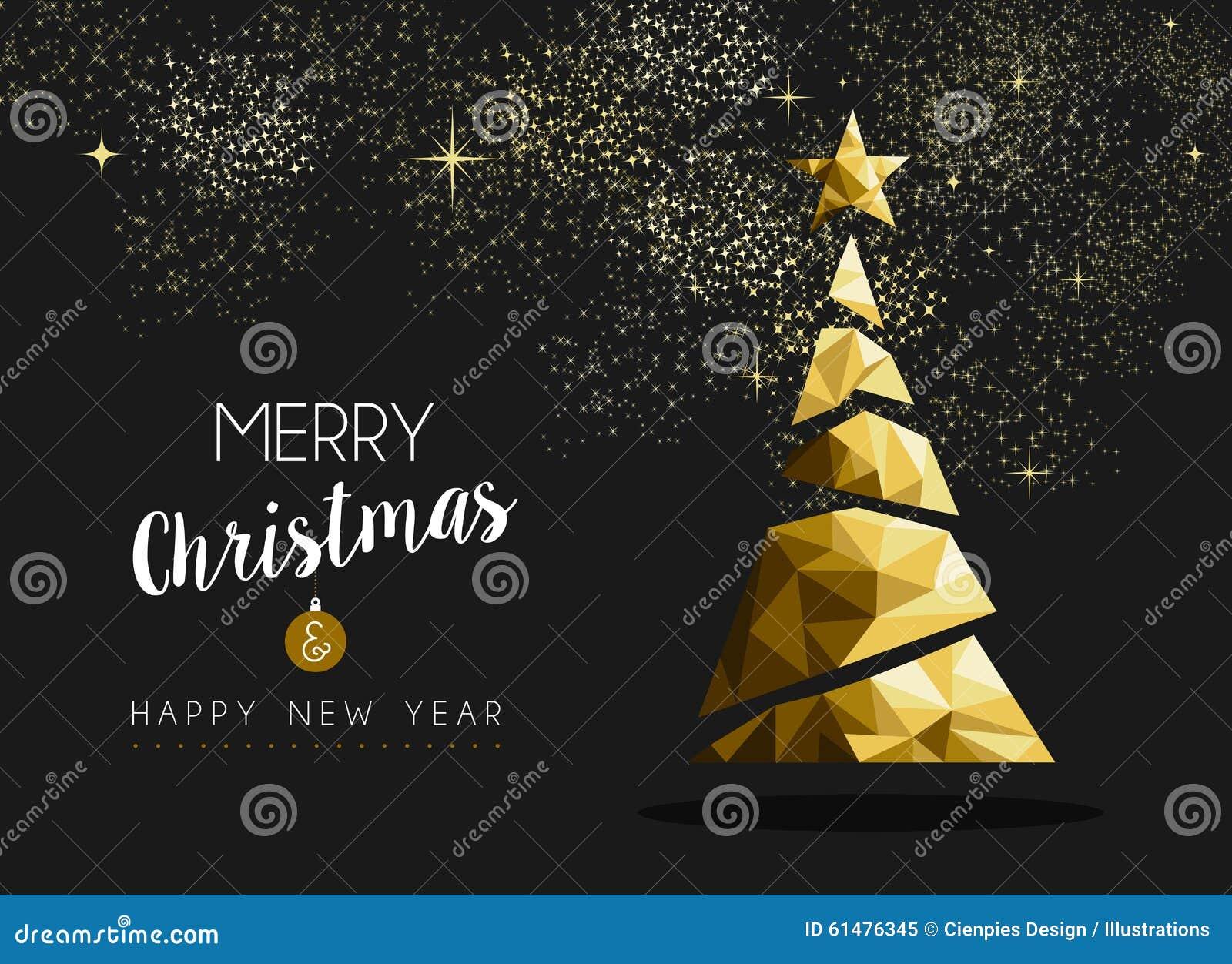 Träd för triangel för lyckligt nytt år för glad jul guld-